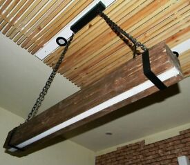 Wood Beam LED Lamp Pendant Light Ceiling| Remote Control Dimmer |Linear Lighting