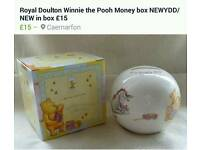 Royal Doulton Winnie the Pooh Christening Money Box and plate