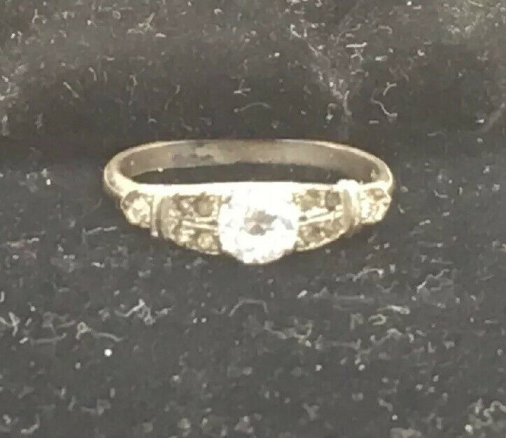 Art Deco Sterling Silver Ring Size 6 1/2 Faux Diamond Vintage Paste Stones