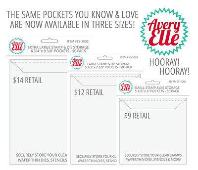 как выглядит Станок для тиснения, оборудование для штампа NEW Official Avery Elle Stamp and Die Clear Storage Pockets (Pack of 50)-3 SIZES фото