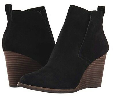 NEW- LUCKY BRAND Yoniana Black Leather Suede Wedge Bootie Boots Size 12  R$139