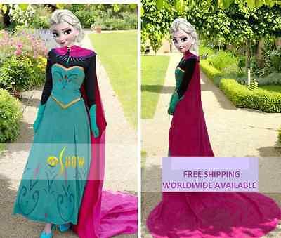 Elsa Anna Krönung Erwachsene Damen Queen Cosplay Kostüm Umhang UK (Anna Kostüm Damen)