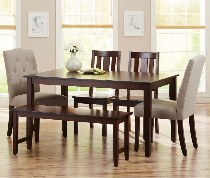 Dining Table Set 6 Piece Bench Kitchen Parson Chairs Wooden