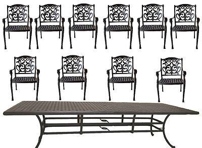 Nassau Patio - 11 piece outdoor patio dining set Nassau chairs cast aluminum 46