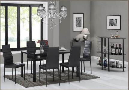 MODERN BLACK GLASS DINING TABLE WITH 6 BLACK LEATHER CHAIRS St Marys Penrith Area Preview