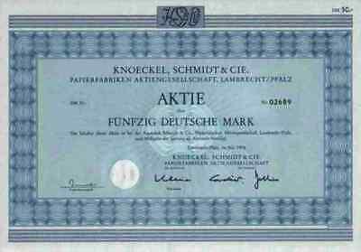 Knoeckel Schmidt & Cie Papierfabriken AG 1976 Lamprecht Bad Dürkheim Pfalz 50 DM