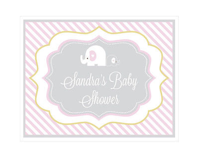 Personalized Pink Elephant Theme Sign Baby Shower Decoration