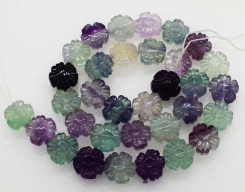 "fluorite carved flower marking for jewelry DIY 12*6mm beads 15"" nature"