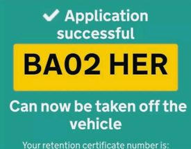 Private number plate BA02HER