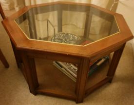 Solid Mahogany Hexagonal Rattan Weave Coffee Table