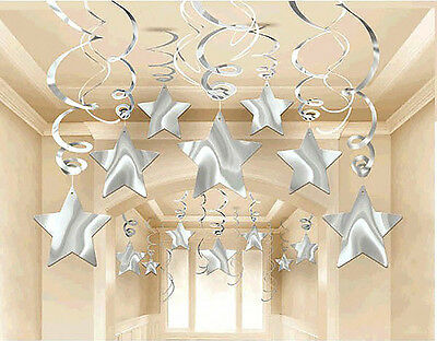 New Year Eve Party Decor SILVER SHOOTING STAR Hanging Swirls