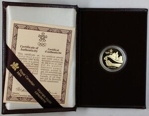 1987 Canada 14KT $100 XV Olympic Winter Games Gold Coin London Ontario image 1
