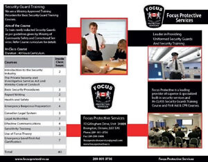 Courses available for Security Guard Licence Training Online