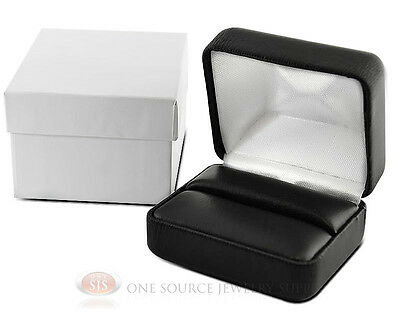 Black Faux Leather Double Ring Display Jewelry Gift Box 2 38 X 2 X 1 12h