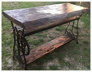 Live edge Barnwood console table on antique sewing base