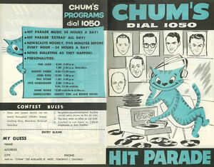 Buying CHUM CHARTS, CKOC, CKEY, CKFH and CHAM Music Surveys