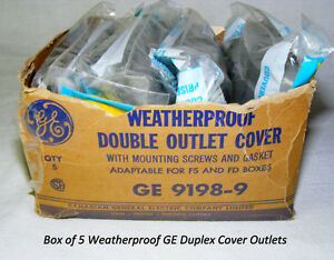 5 GE weatherproof duplex electrical outlet cover, plastic, new