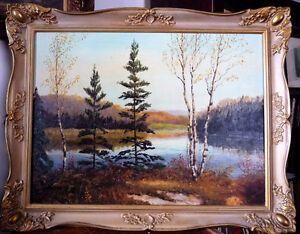 Hidden Lake Autumn Landscape, Fall Colors by Collins 1970