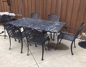 Wrought Iron 6 Chair Patio Table Set