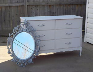 FRENCH PROVINCIAL 6 DRAWER DRESSER & SILVER MIRROR -WINTER WHITE