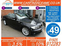 2010 BMW 118i 2.0 M-SPORT CONVERTIBLE GOOD / BAD CREDIT CAR FINANCE FROM 49 P/WK
