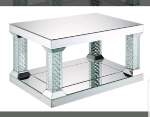 Mirror and crystal coffee table