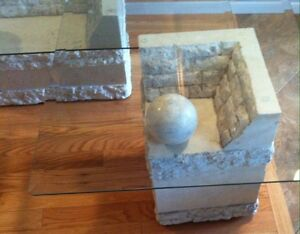 Contemporary Coffee &  End Tables, Glass & Carved Limestone Base Cambridge Kitchener Area image 3