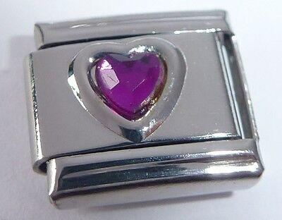 PURPLE HEART GEM Italian Charm - February Birthstone Love fits Classic Bracelets