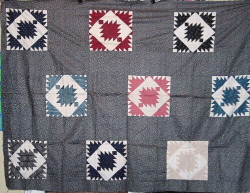 ANTIQUE DELECTIBLE MOUNTAIN QUILT TOP VARIATION c 1880s MINT