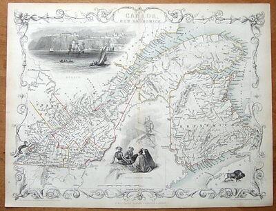 EAST CANADA, NEW BRUNSWICK, RAPKIN & TALLIS orig.antique illustrated map c1850