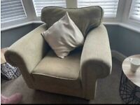 Lovely Sage Armchair, 2 Seater Sofa and Footstool