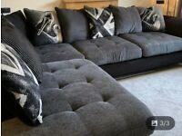 Beautiful grey and black corner sofa