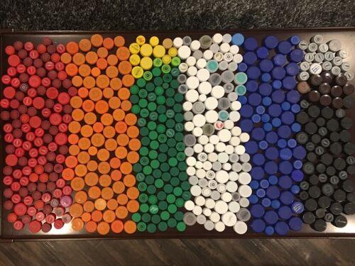 Lot of 565 Plastic Bottle Caps Lids Screw Top Multi Colored Clear Arts & Crafts