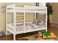 ALEX W (White) Double Wooden Bunk Bed for Children/Kids made of Solid Wood