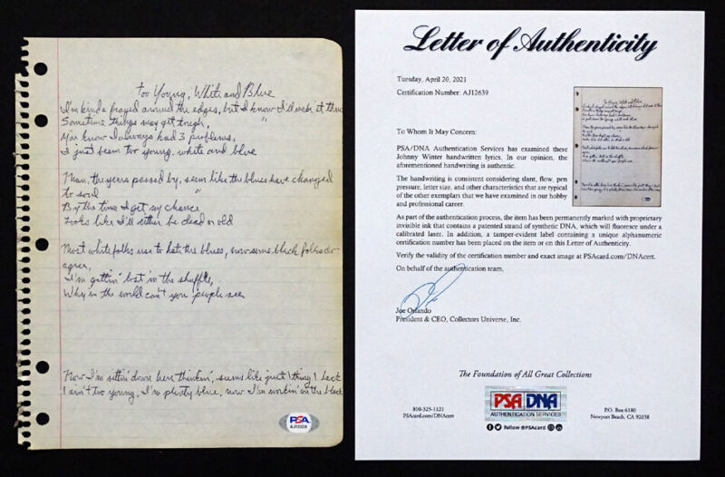 1970s RARE! JOHNNY WINTER Handwritten YOUNG WHITE BLUE Blues Song Lyrics PSA COA