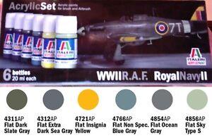 a-ITALERI-ACRYLIC-PAINT-444AP-Set-6-Colori-Acrilici-WWII-R-A-F-Royal-Navy-II