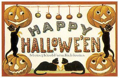 Happy Halloween Black Cats, Pumpkins~Halloween~DIY Counted Cross Stitch Pattern