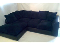 EXPRESS DELIVERY ALL UK   DYLAN JUMBO BLK/BLK CORNER OR 3+2 SEATER SOFA   1 YEAR WARRANTY