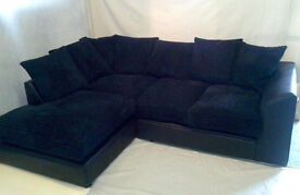 1 YEAR WARRANTY | DYLAN JUMBO BLK/BLK CORNER SOFA | UK EXPRESS DELIVERY | FOAM CUSSHION |SPRING BASE
