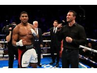 2 ANTHONY JOSHUA V KLITSCHKO TICKETS £430 THE PAIR LEVEL ONE SEATS 29TH APRIL COLLECTION OR POSTED