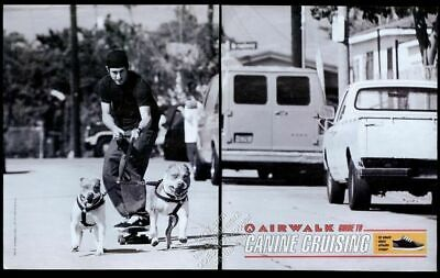 1996 pit bull dogs pulling skateboard photo Airwalk shoes vintage print ad ()