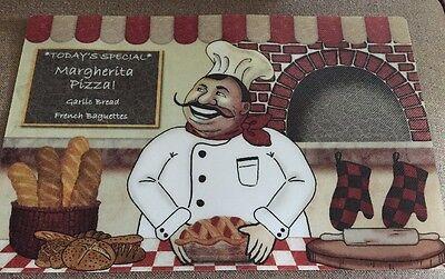 FAT CHEF Placemats Italian Margherita Pizza Bread Brick Oven Red Plastic Vinyl -