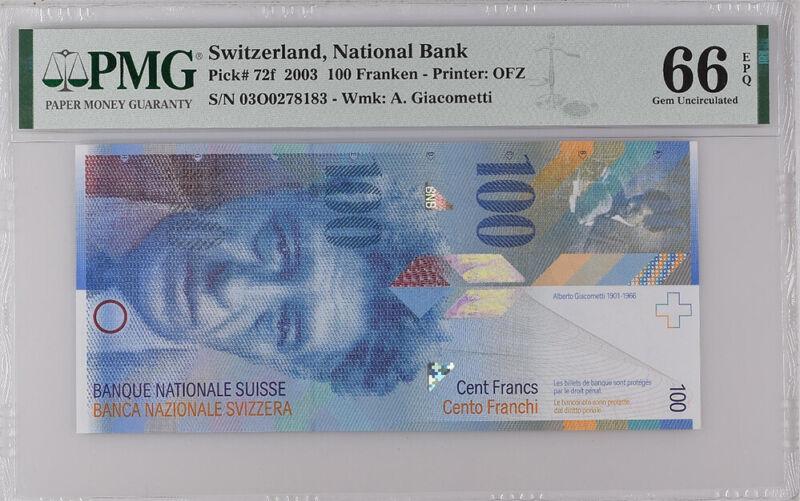 Switzerland 100 Franken 2003 P 72 F GEM UNC PMG 66 EPQ