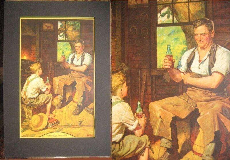 1933 Matted Coca Cola Calendar Top-Village Blacksmith Frederic Stanley Art