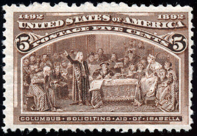US 234 5¢ 1893 Columbus Soliciting Aid from Queen Isabella Fine NH