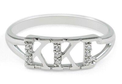 Kappa Kappa Gamma sterling silver ring with simulated diamonds, NEW!!***