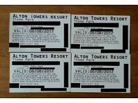 4 tickets 6/8/2017 Holiday Sunday alton towers tickets
