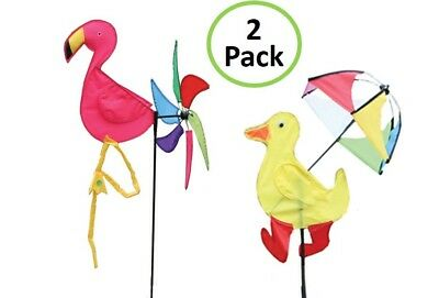 Flamingo + Duck 2 Piece Set Yard Garden Outdoor Decor Spinning Lawn Ornament](Flamingo Outdoor Decor)