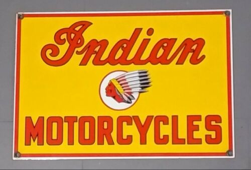 Indian Motorcycle sign vintage style porcelain Ande Rooney
