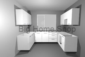 NEW FULL COMPLETE 12 LUXURY GLOSS WHITE KITCHEN UNITS DOORS, DRAWERS & HANDLES